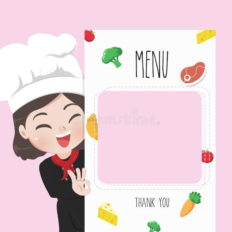 Chef menu cute girl enjoy delicious food. stock illustration