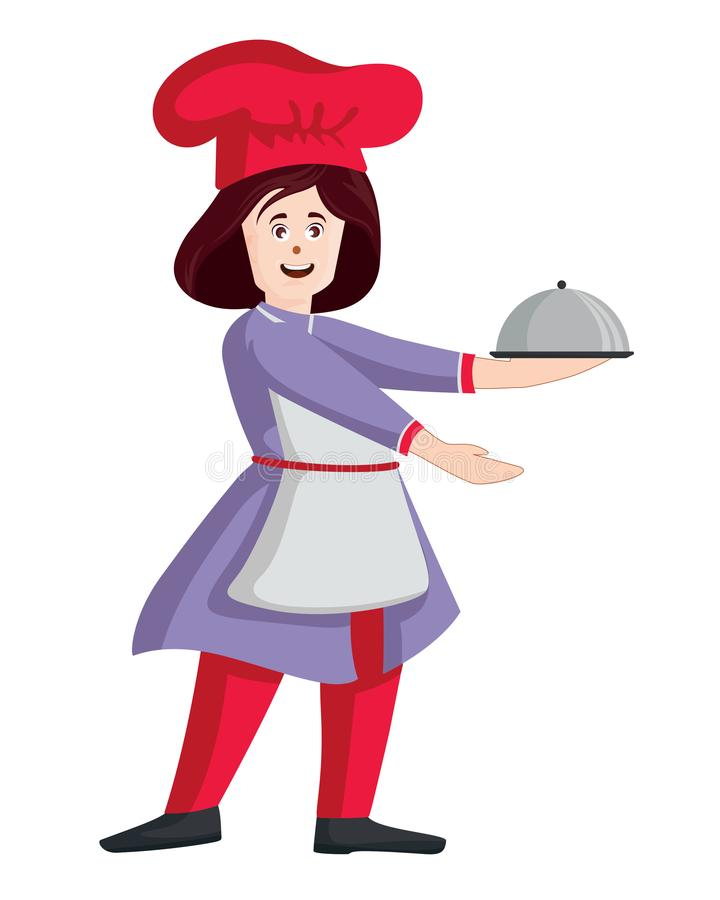 Female chef vector. Woman cook in apron standing with tray vector illustration
