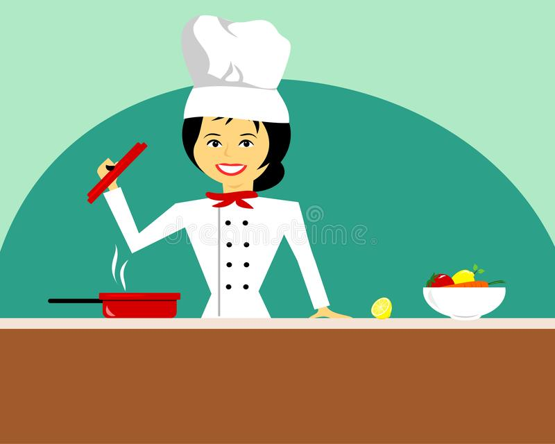 Female Chef In White Uniform Holding Lid royalty free stock images