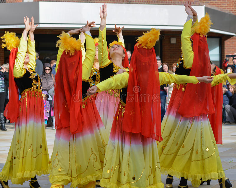 Female Chinese Dancers. Chinese dancers in Woking UK, celebrating the Chinese new year (year of the sheep stock photography