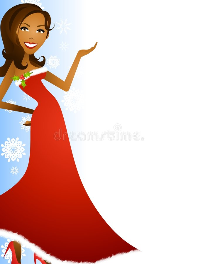 Female Christmas Border 2. An illustration featuring an african american woman wearing a festive red gown standing in front of blue colored background decorated vector illustration