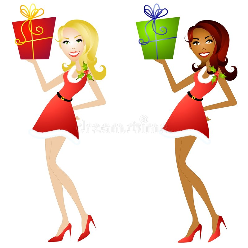 Female Christmas Helpers 2. An illustration featuring your choice of caucasian or african american woman dressed in little red dresses with holly leaves and vector illustration
