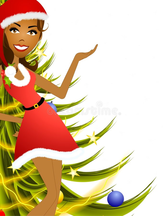 Female Christmas Presenter 2. An illustration featuring an african american woman wearing a festive little red dress standing in front of trees and gifts with stock illustration