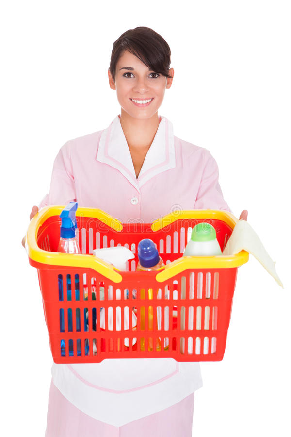 Female Cleaner With Cleaning Supplies stock image
