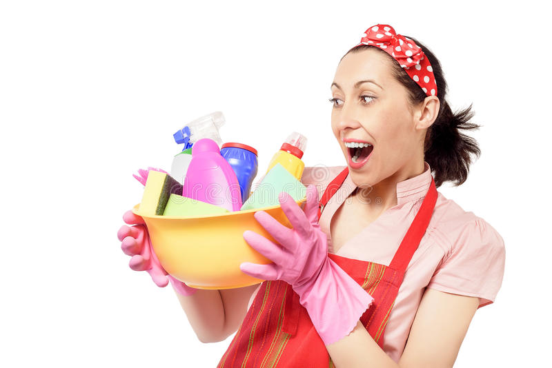 Female cleaner holding bucket with cleaning stock photography