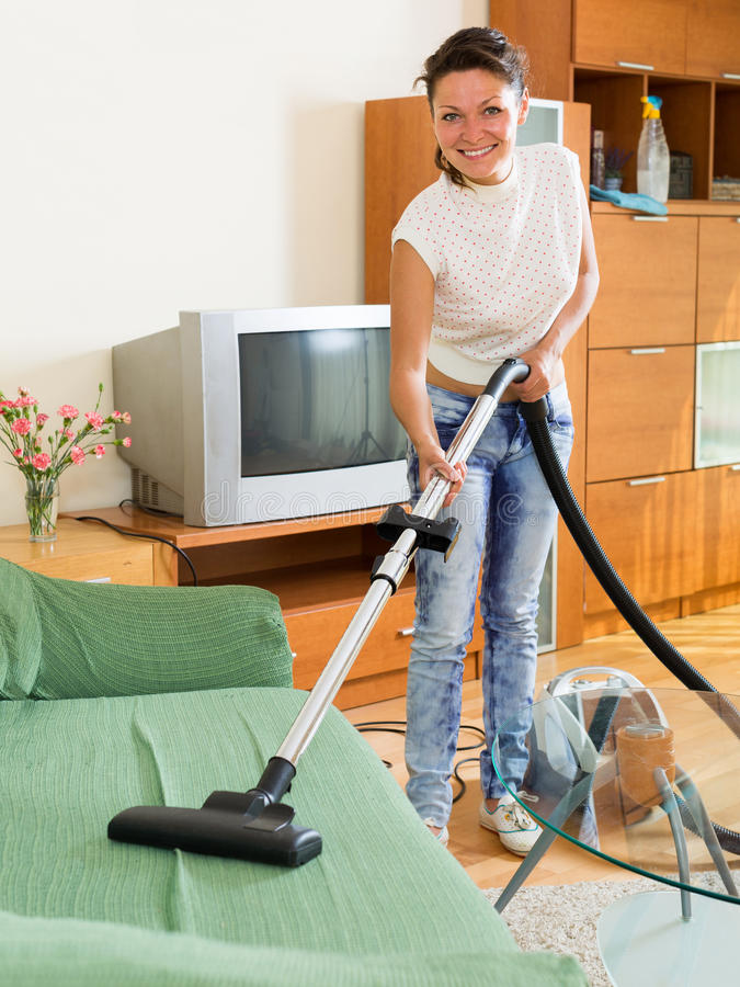 Download Female Cleaning Sofa With Vacuum Cleaner Stock Image   Image Of  Glad, Brunette: