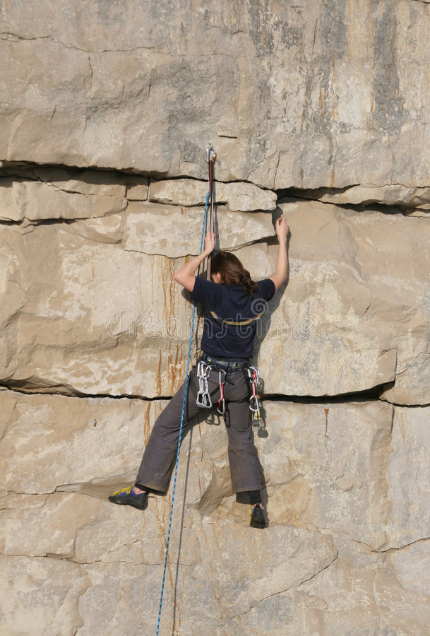 Download Female Climber stock image. Image of rockface, cling, female - 465559