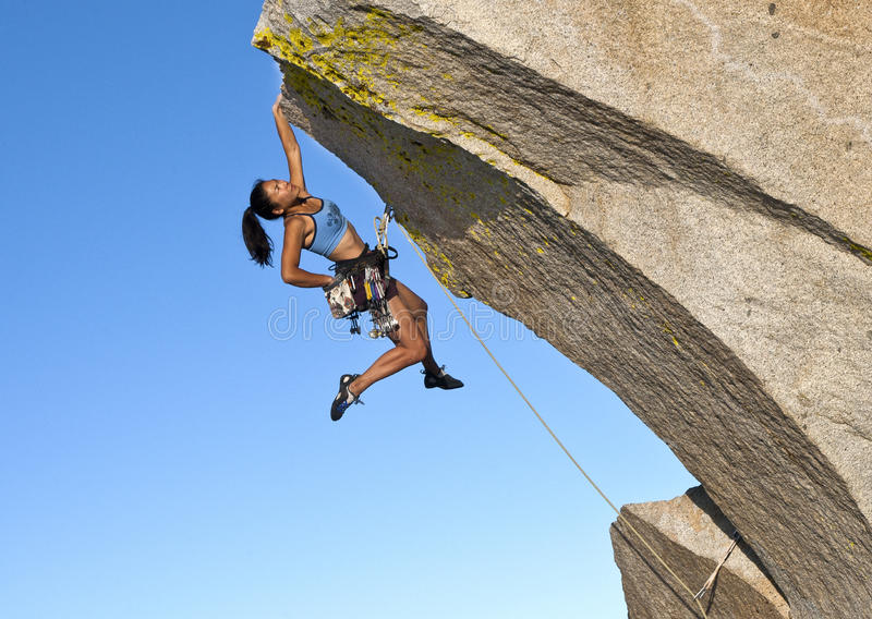 Female Climber Challenged. Stock Photography