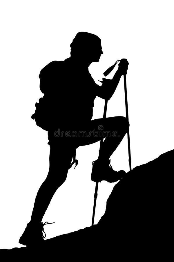 Female climbing a cliff stock illustration