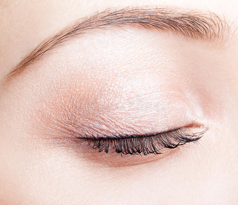 Female closed eye and brows with day makeup royalty free stock images