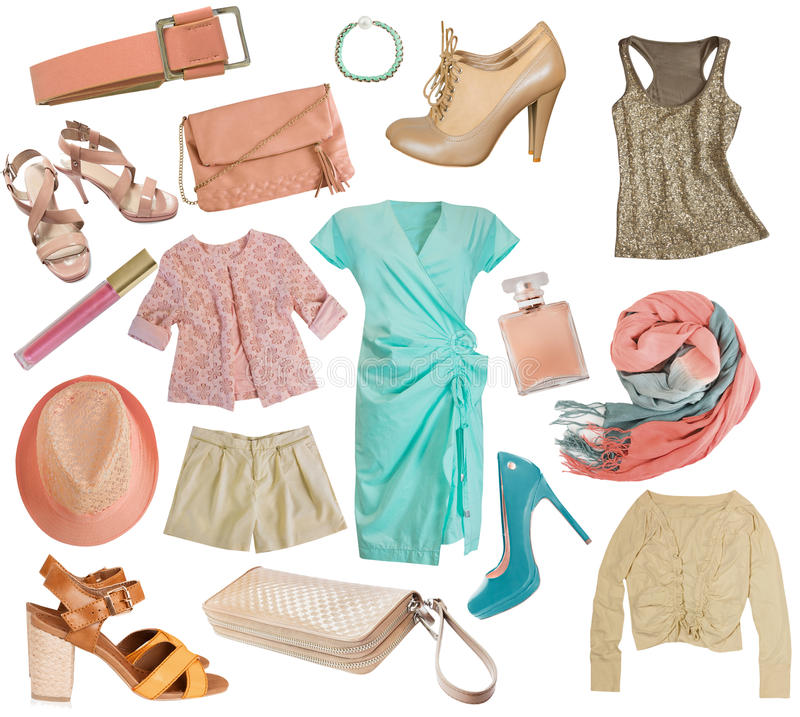 Female clothes collage.Women apparel set.Isolated. royalty free stock image