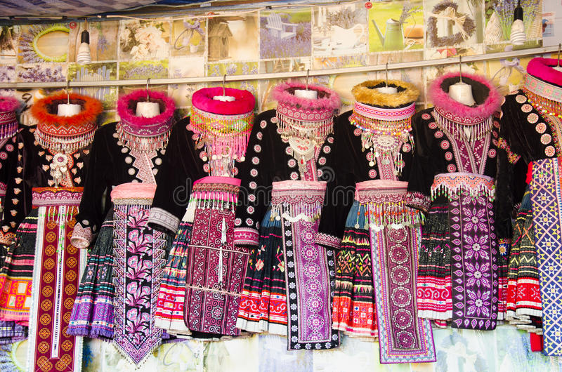 Female clothes costume traditional of Ethnic Hmong shop for people and travelers for rent wear for take photo at Doi Pui Tribal V stock images