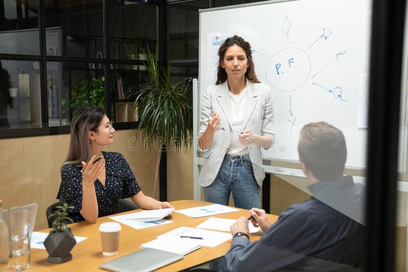 Female coach leader conference speaker give business presentation in boardroom royalty free stock photos