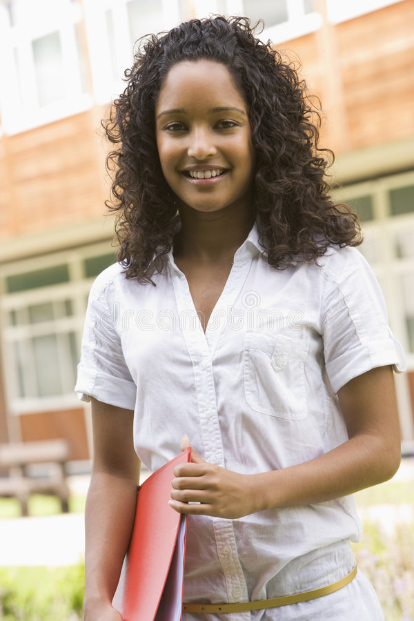 Female college student on campus royalty free stock image