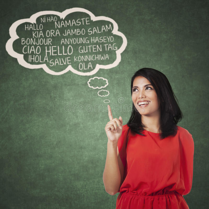 Female college student learning multi language stock photography