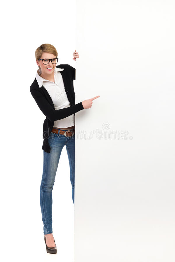 Download Female College Student Woman With Big Banner Stock Photo - Image: 37464076