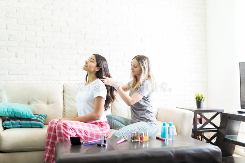 Female Combing Best Friend`s Hair At Home stock photo