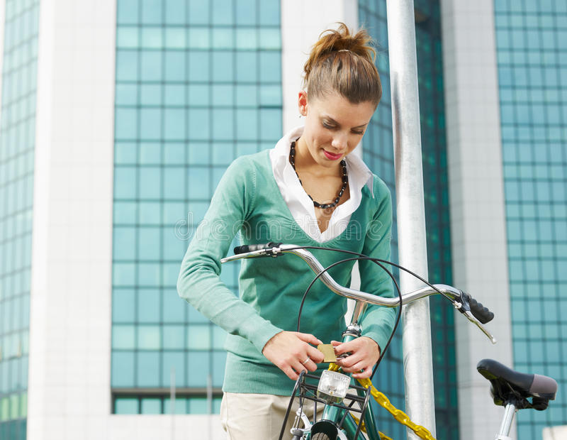 Female commuter royalty free stock image
