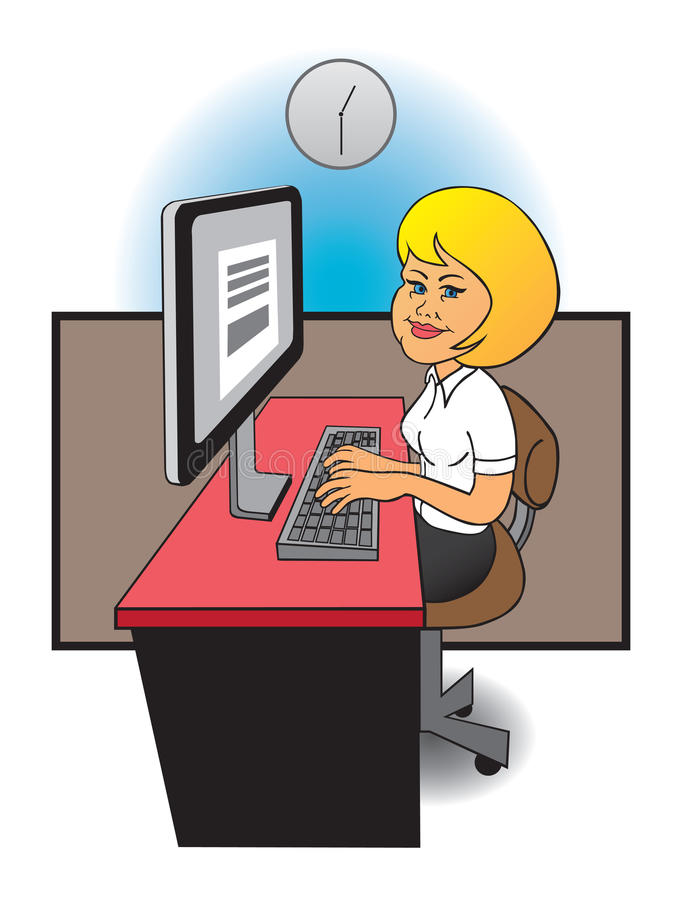 Female computer operator. Young lady at desk in office working on computer vector illustration