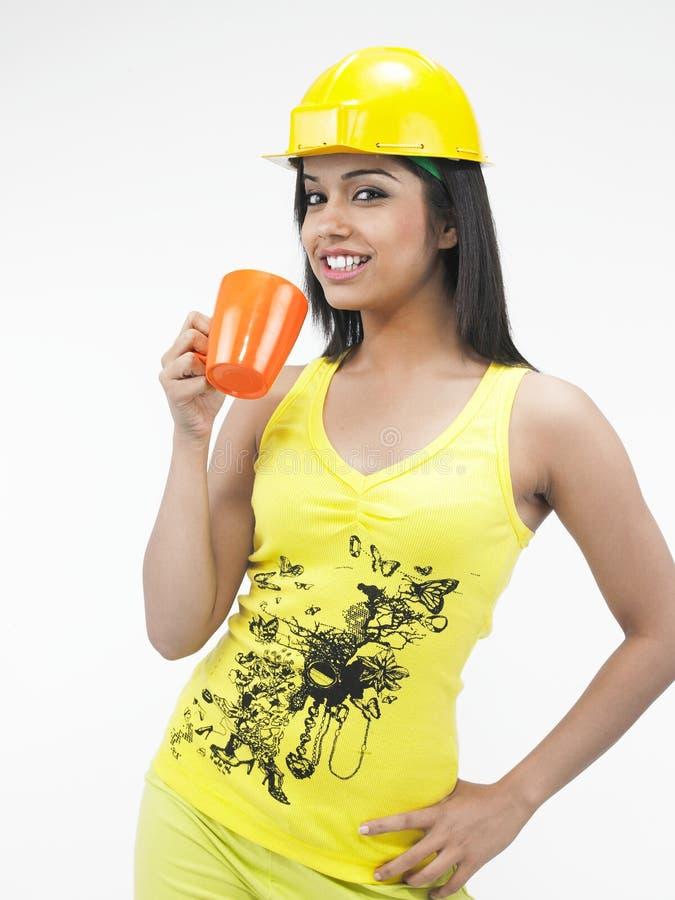 Female construction woker stock photography