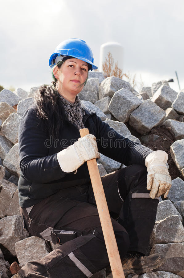 Female construction worker stock photography