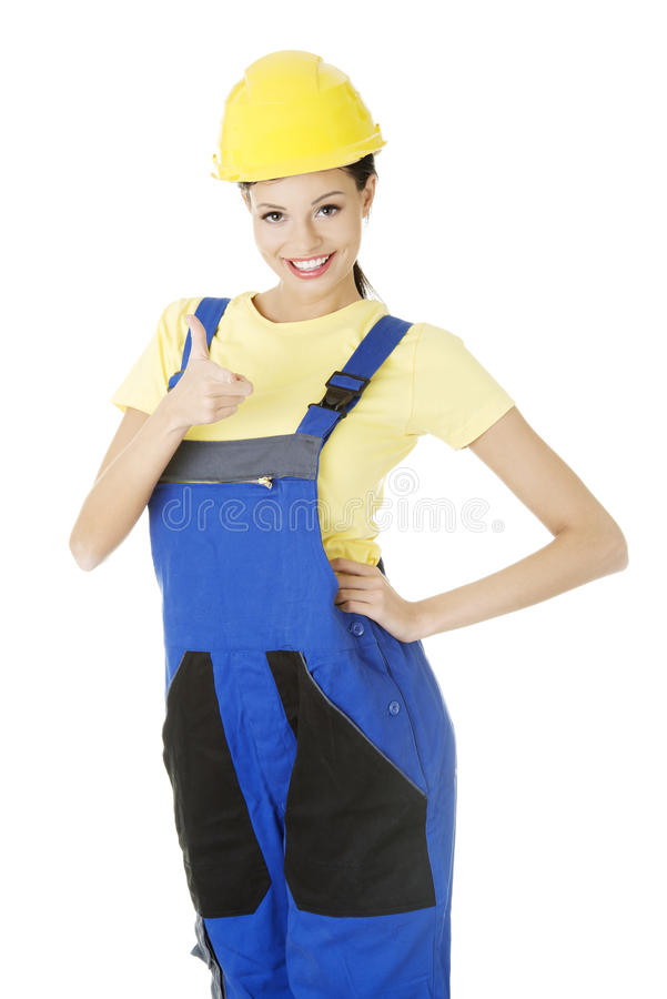Download Female Construction Worker Gesturing Thumbs Up Stock Photo - Image of handyman, cheerful: 28866482