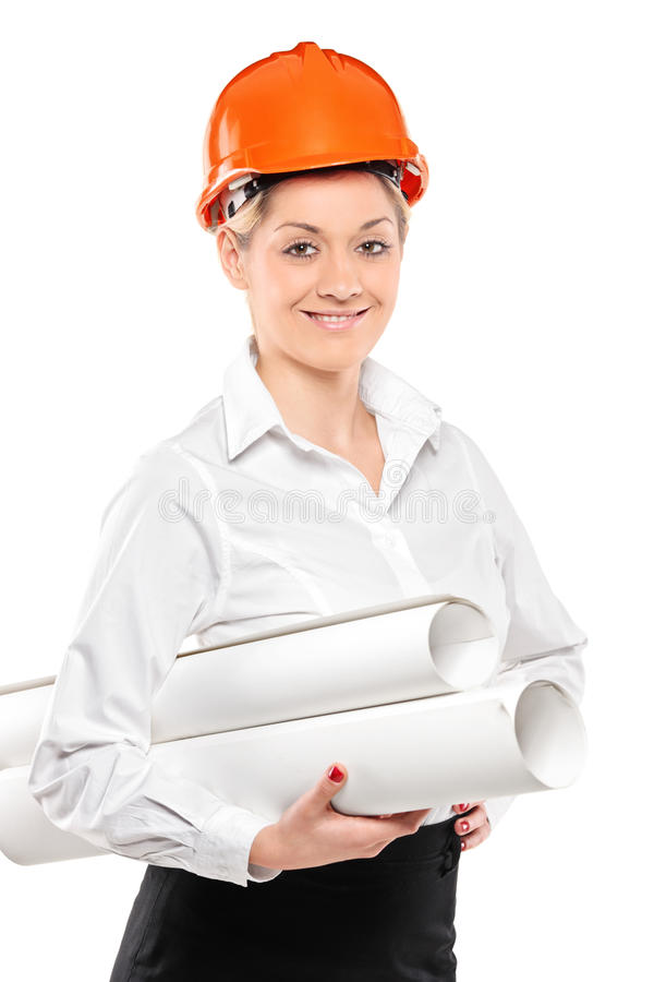 Free Female Construction Worker Holding Blueprints Stock Images - 17570114