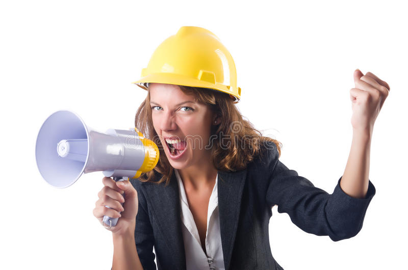 Download Female construction worker stock image. Image of loud - 33348883