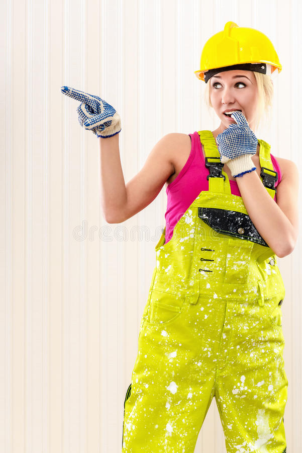 Dirty Construction Worker Wearing Hard Hat Stock Images