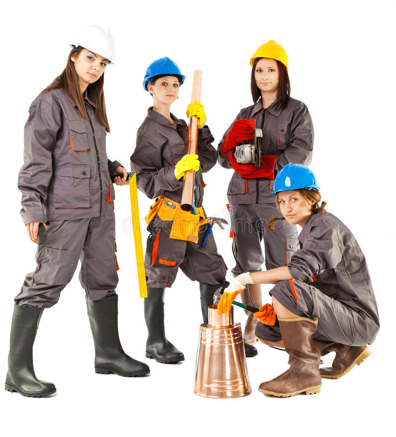 Female construction workers stock images