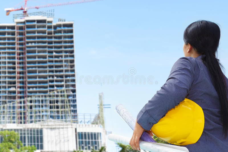 Female contractor and bulding project stock images