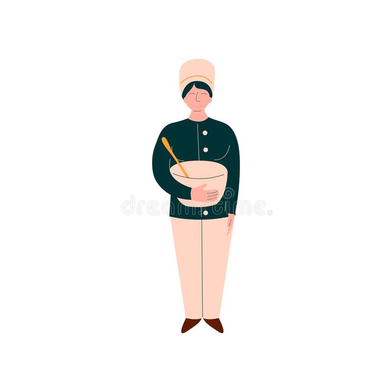 Female Cook Cooking in Restaurant Kitchen, Professional Kitchener Character in Uniform Standing with Bowl Vector stock illustration
