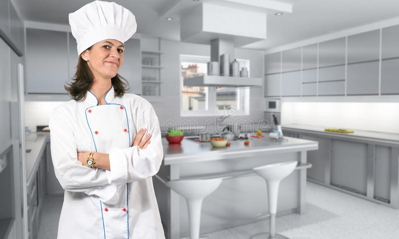 Female cook in kitchen stock photos