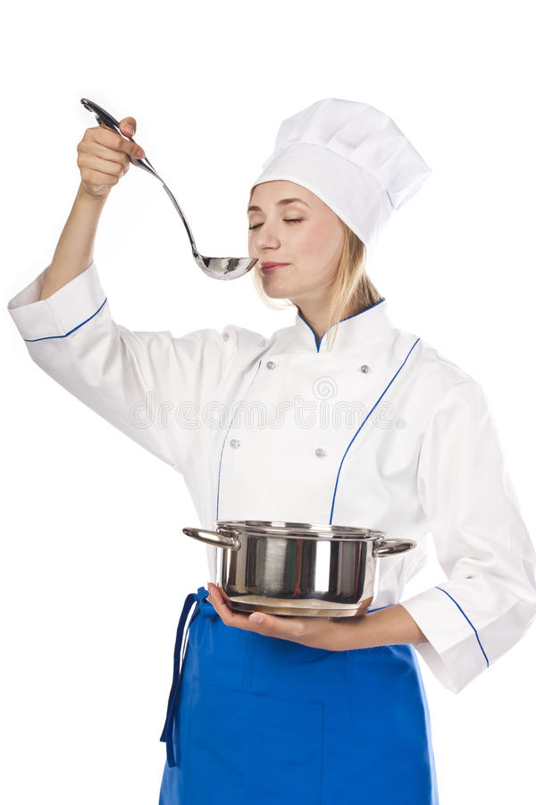 Female Cook Preparing A Genuine Recipe Royalty Free Stock Image
