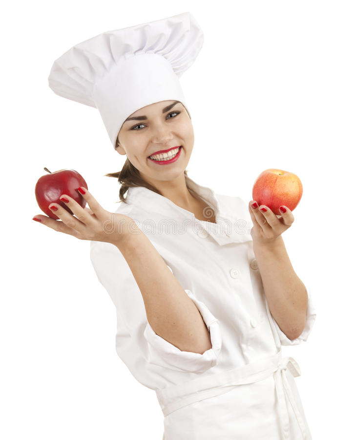 Female Cook With Red Apples Royalty Free Stock Photos