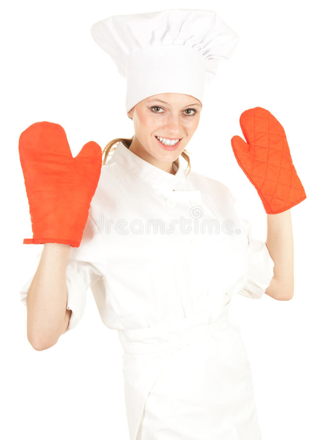 Female cook with red kitchen gloves stock photos