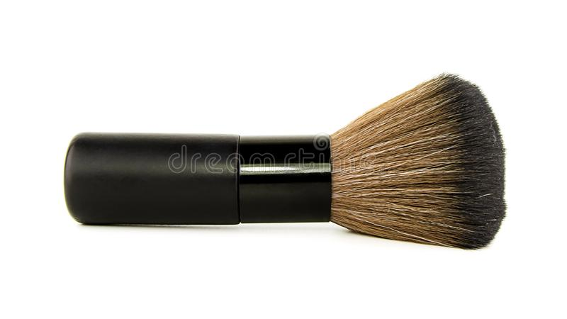 Female cosmetics brushes for make up brush powder blusher isolated on white background. cosmetic brushes for a make-up, various wi stock photography