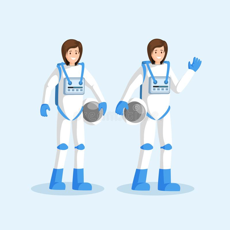 Female cosmonauts in spacesuits flat illustration. Smiling astronauts team standing, waving hand and holding helmets. Cartoon characters. Space mission, galaxy royalty free illustration
