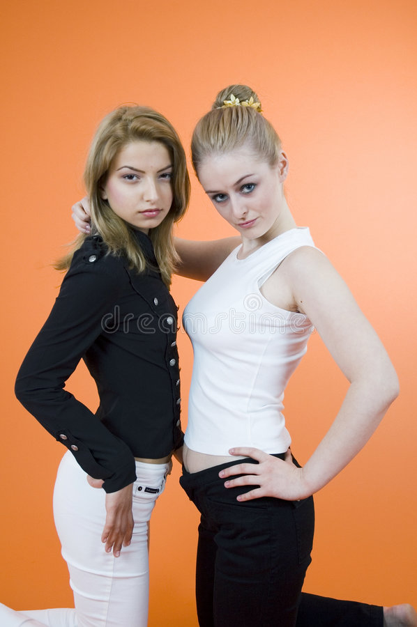 Female Couple. Two young women posing together, looking at the camera royalty free stock photo