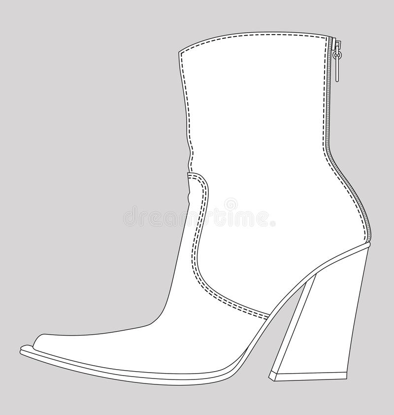 Free Female Cowboy Ankle Boot Fashion Flat Sketch Template Stock Images - 162078994