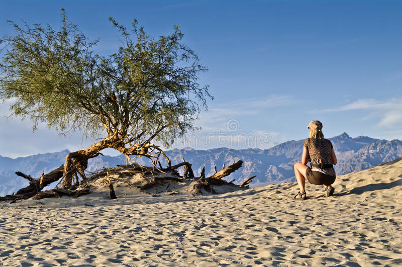 Female cowering in desert. Female cowering in the death valley desert royalty free stock photography