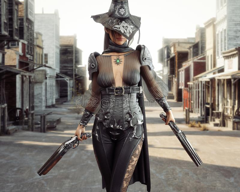 Female cowgirl gunslinger walking through the center of a western town with duel sawed off shotguns. 3d rendering vector illustration