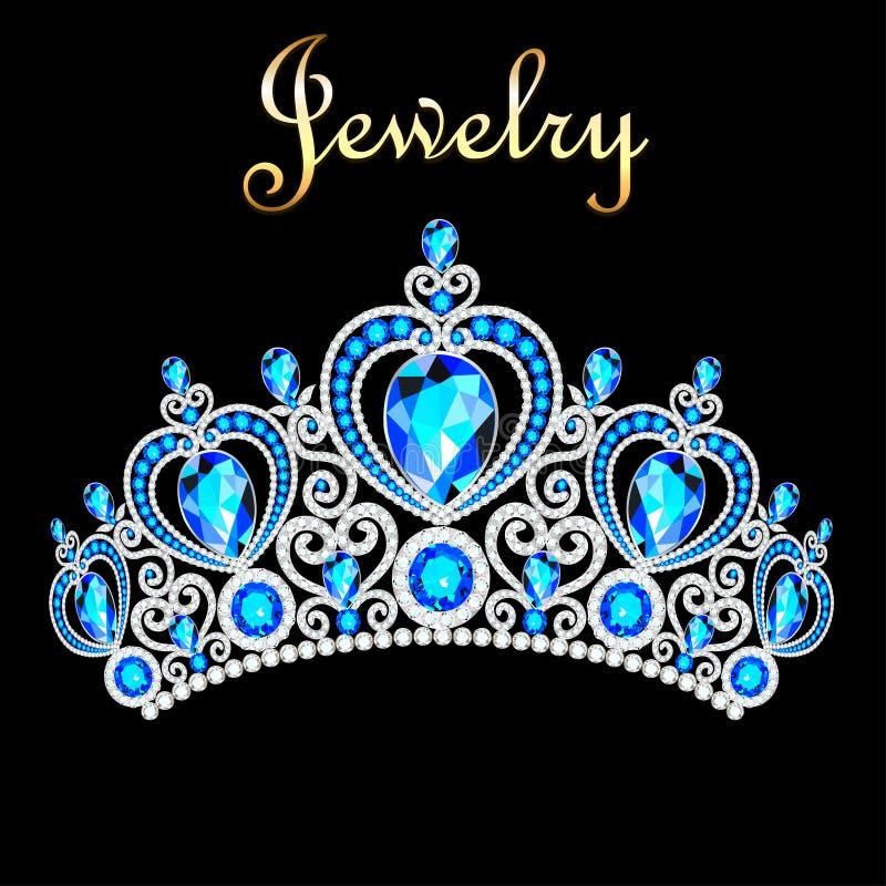 female crown, tiara, with blue precious stones vector illustration