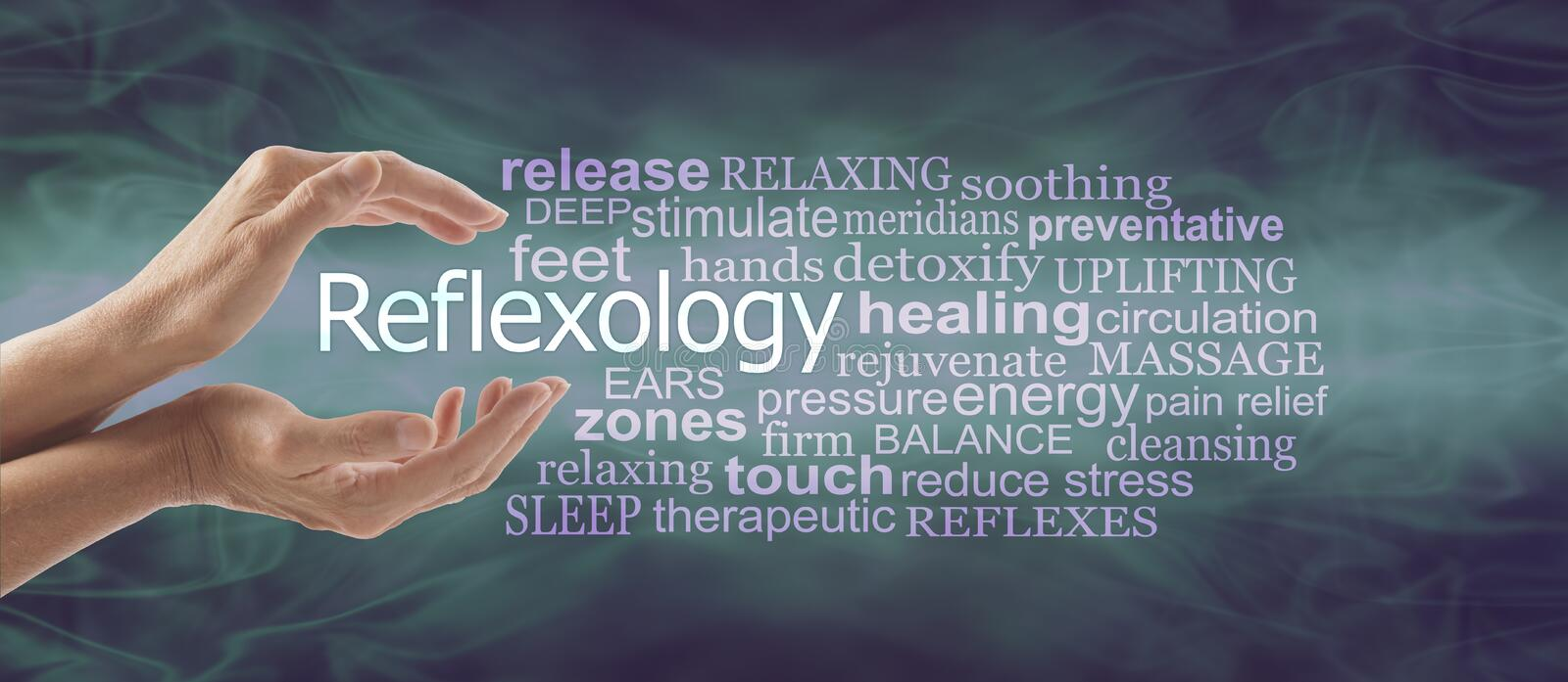 Reflexology Therapy Word Tag Cloud Banner. Female cupped hands with the word REFLEXOLOGY floating between surrounded by a relevant word tag cloud on a deep stock photography
