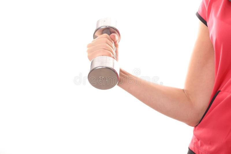 Female curling dumbbell weight angle stock photos