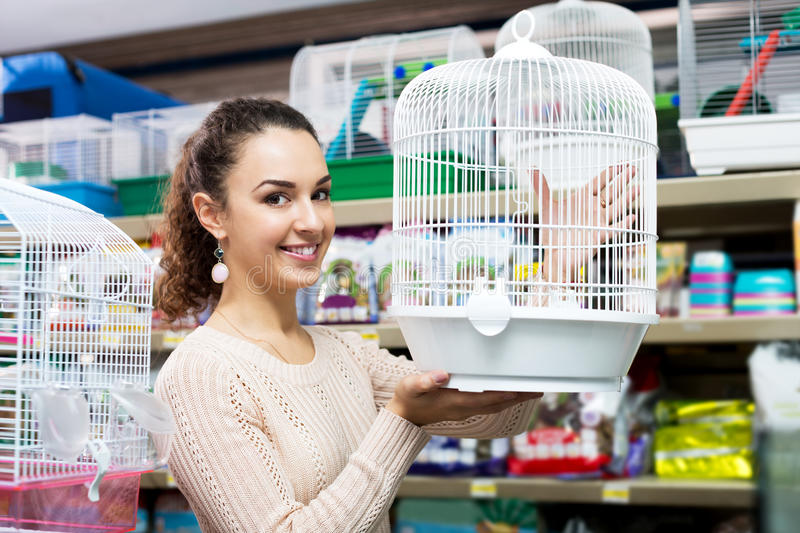 Female customer buying cage for quinea stock image