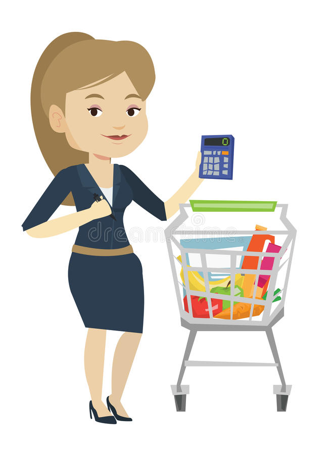 Female customer counting on calculator. Young woman standing near supermarket trolley with calculator in hand. Woman checking prices on calculator. Woman royalty free illustration