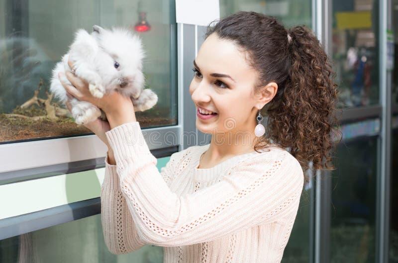 Female customer watching fluffy chinchilla in petshop stock photos