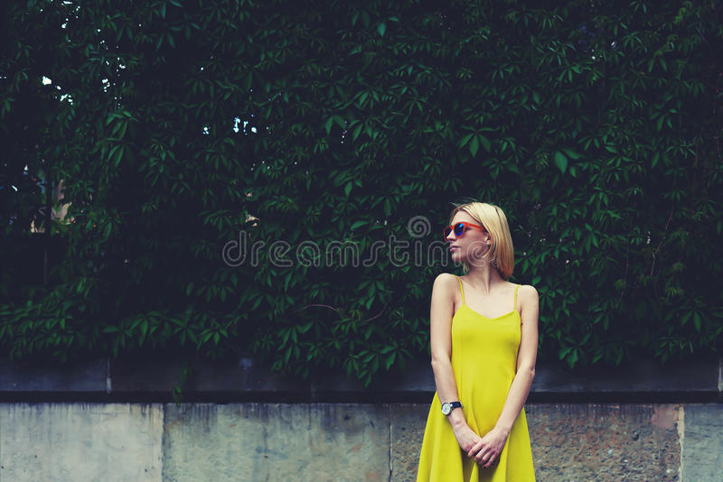 Female cute hipster girl standing against blank copy space for text message or content royalty free stock images