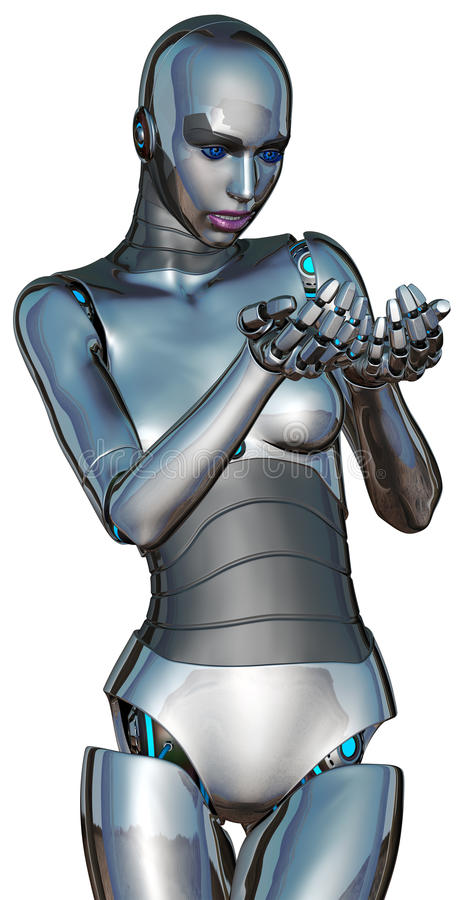 Female Cyborg Android Robot Holding Something Isolated. A curious female cyborg android robot has her hands cupped and is holding something or an object stock illustration